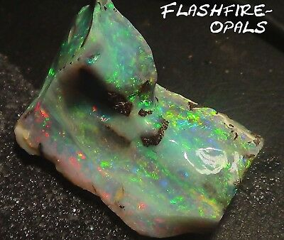 147ct. EINMALIGER GEM BOULDER ROH OPAL BRILLIANT GRÜN/ROT VIDEO FLASHFIRE-OPALS