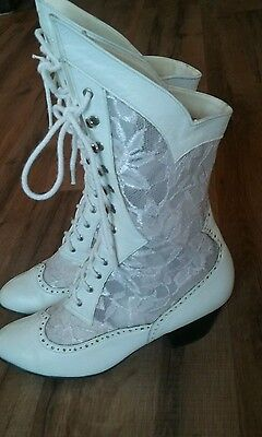 GRANNY BOOTS  white leather & lace 9  Victorian,  steampunk,  wedding