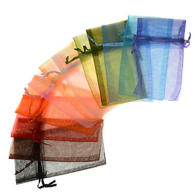 Organza Drawstring Gift Bags, Mixed Colors 3x4 Inches (12 Pieces)