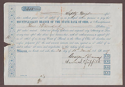1857 Mountpleasant Branch Of The State Bank Of Ohio $300 Promissory Draft