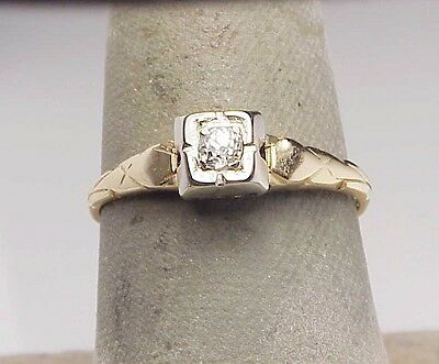 Vintage Old Miner Diamond Engagement Ring 14k Two Tone Gold