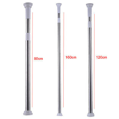 Stainless Steel  Adjustable Metal Tension Shower Curtain Rod Large Round Ends