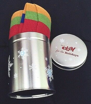 2002 eBay Employee Holiday Gift Scarf in Silver Round Tin--Never Removed