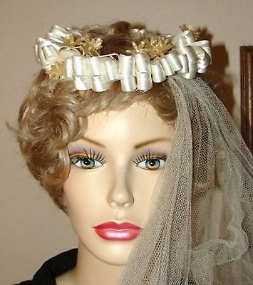 Stunning VTG Bridal Millinery Head Piece~Veil~Ivory Pleated Ribbons~Wax Flowers