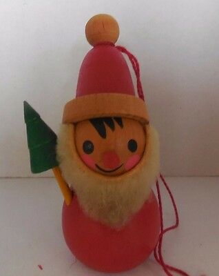 Santa  with Tree and Sack  Vintage Germany Wooden Steinbach