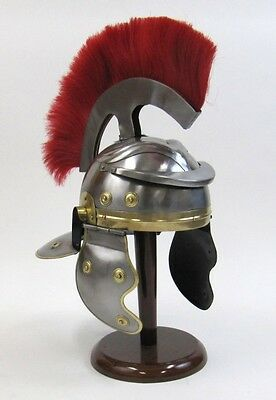 Armor Helmet Roman Centurion With Helmet Liner-Medieval And Wooden Stand