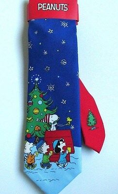 Snoopy Christmas Peanuts Gang Neck Tie Blue Caroling Colorful New