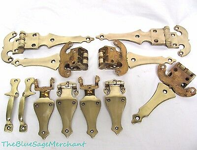 "Vintage SOLID Brass HINGES LOT From Antique Ice Box Doors 5 12"" 4 6.5""+2 Handles"