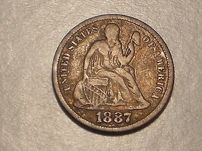 1887 S Seated Liberty Dime (Abt. VF & Attractive)