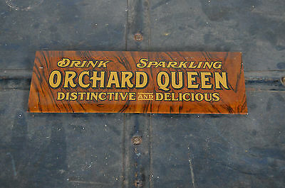 Drink Sparkling ORCHARD QUEEN TOC tin over cardboard early RARE soda pop sign