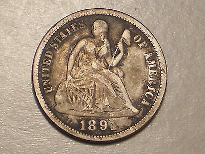 1891 Seated Liberty Dime (VF & Attractive)