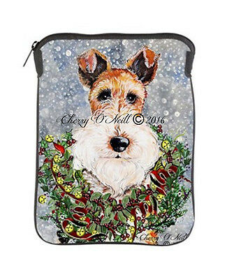 Wire Fox Terrier Tablet Sleeve WFT Christmas Case Perfect Holiday Gift.