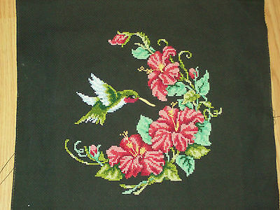 Vintage embroidered HUMMINGBIRD cross stitch picture Expert ready to frame