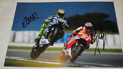 Signed Valentino Rossi and Marc Marquez 12X8 Photo! 46! 93!