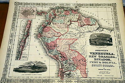 1864 Rare Johnson Beautiful Antique Atlas Map Of Venezuela-Handcolored