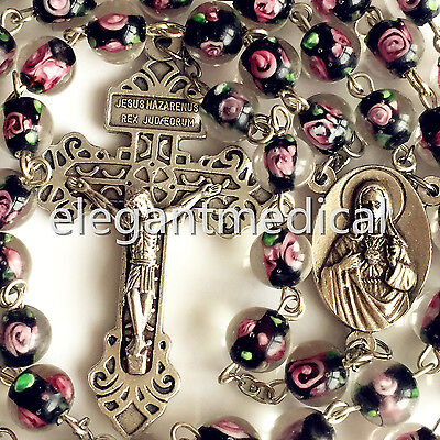 Handmade Glaze BLACK ROSE BEADS ROSARY CROSS Pardon CRUCIFIX CATHOLIC NECKLACE