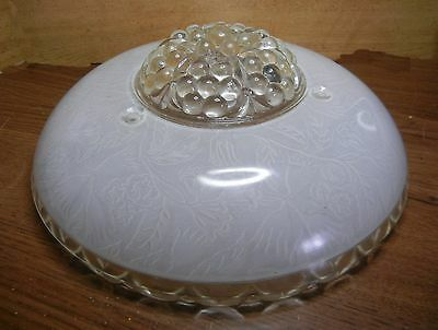 """10-1/4"""" Vintage 3-Chain Chandelier Shade Satin Floral Inside Clear Optic Bottom"""