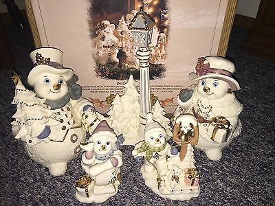Grandeur Noel 2001 Porcelain Snowman Family BEAUTIFUL!!