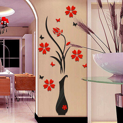 DIY Vase Flower Tree Crystal Arcylic 3D Wall Stickers Decal Wall Art Home Decor