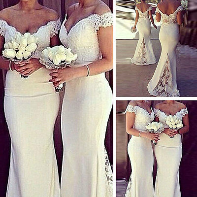 Formal Long Women Lace Gown Prom Evening Party Cocktail Bridesmaid Wedding Dress