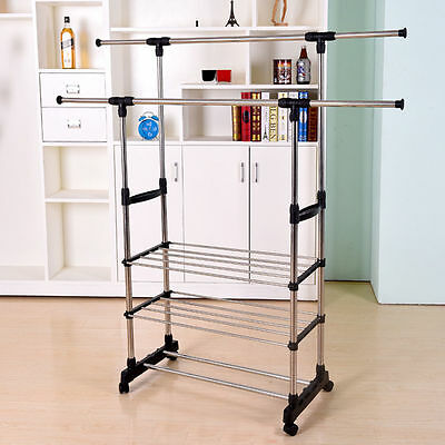 Double Clothes Garment Hanging Rail Rack Storage Stand On Wheels with Shoe Rack