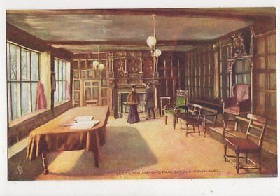 Leicester Mayors Parlour Old Town Hall Vintage Tuck Postcard 602a
