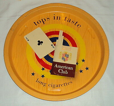 C1980's Vintage American Club Cigarettes Tin Advertisement Tray