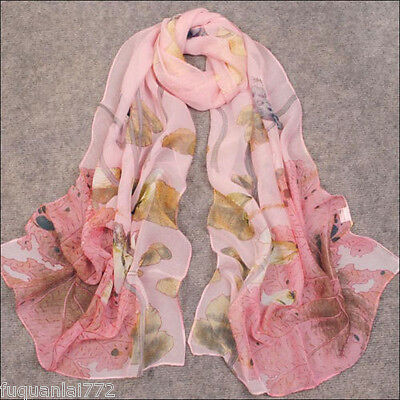 Women's Fashion Oblong Long Chiffon Scarf Soft Wrap W/c Frog And Lotus Leaf