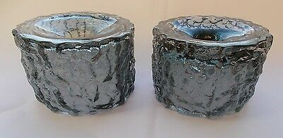2 x WHITEFRIARS PEWTER BARK TEXTURED ART GLASS CANDLE HOLDERS
