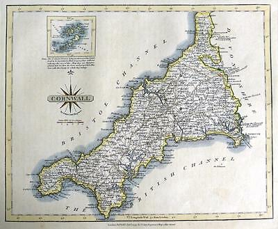 CORNWALL AND THE SCILLY ISLES  BY JOHN CARY GENUINE ANTIQUE MAP  c1793