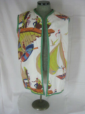 Vtg 40s 50s Rare Terry Cloth Novelty Print Boats Birds Mens Cabana Shirt Vest