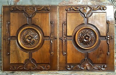 WEEDING HEART PANEL PAIR ANTIQUE FRENCH WALNUT CARVED WOOD GOTHIC PEDIMENT 19 th