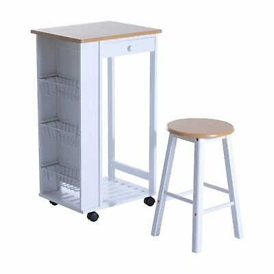 "34"" Rolling Wood Kitchen Trolley Stool Set Storage Cart Dining Island Space Save"