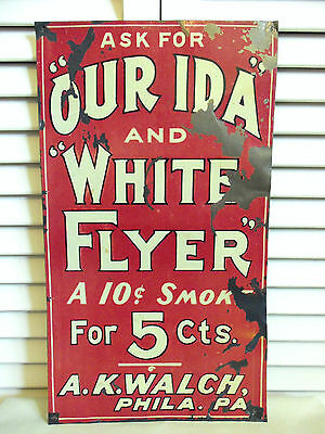 Antique Tin Metal Cigar Sign 5 Cent Cigars Ida and White Flyer Vintage Phlia PA