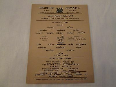1956-57 WEST RIDING FA CUP HUDDERSFIELD TOWN v HALIFAX TOWN