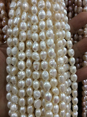 8-9mm White Freshwater Cultured Pearl Loose Beads 13'' 004