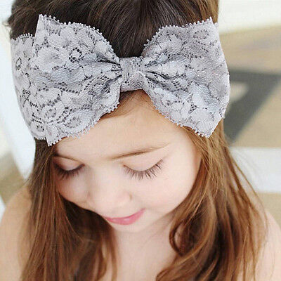 Grey Girls Kids Baby Toddler Infant Lace Headband Bowknot Hair Band Accessories