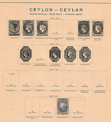 CEYLON OLD COLLECTION  46 Stamps hinged on 8 Pages (1861-1912)