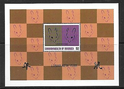 Dominica Sgms2076 1996 Year Of The Rat   Mnh