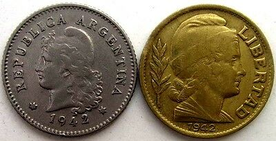 Argentina Coins, Lot Of 2, 10 Centavos 1942, Two Types, Republica Argentina