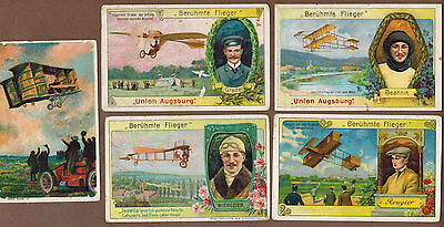 AVIATION, AVIATORS: Collection of RARE Trade Cards from GERMANY (1909)