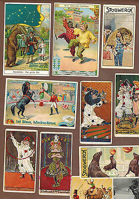 CIRCUS, CLOWNS: Collection of Scarce Antique Cards (1899)V