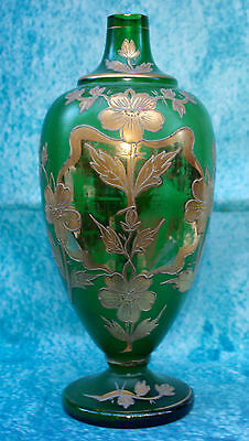 Antique Art Nouveau Green Glass Vase with Raised Gold Enamel Overlay of Flowers