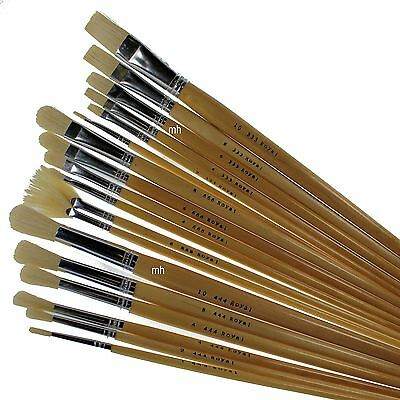 Royal & Langnickel White Bristle 18 Long Handle Brush Set Oil Acrylic paint