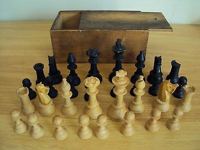 A Vintage Craved Wooden Chess Set in Original Wooden Box