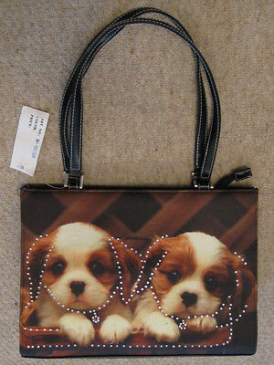 Quality 2 Cavalier King Charles Spaniel Dogs On Twin Handle Bag Bling/rhinestone