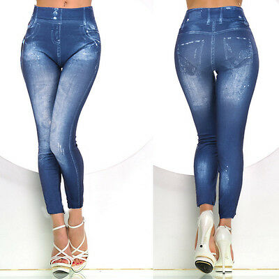 New Sexy Womens Seamless Leggings tattoo jeans look Fit UK Size 6-12