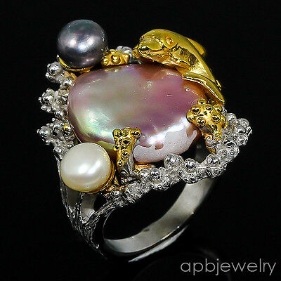 Unique Handmade Natural Baroque Pearl 925 Sterling Silver Ring Size 7.5/R80327