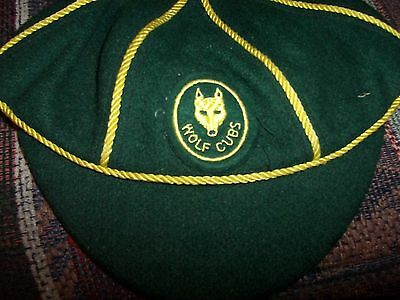 Vintage Boys Wolf Cubs Green Wool Cap, Boy Scouts