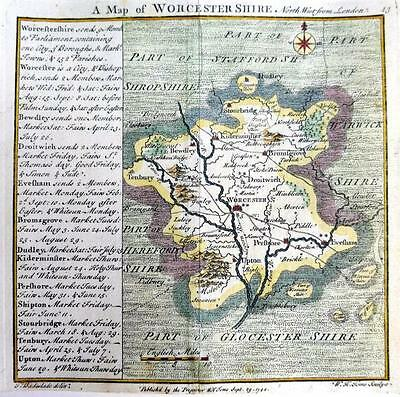WORCESTERSHIRE WORCESTER   BY BADESLADE & TOMS  GENUINE ANTIQUE MAP  c1742